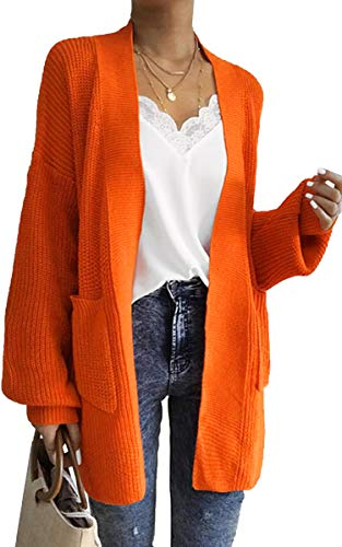 ECOWISH Womens Solid Soft Stretch Sweater with Pockets Long-Line Long Sleeve Open Front Knit Cardigan Orange