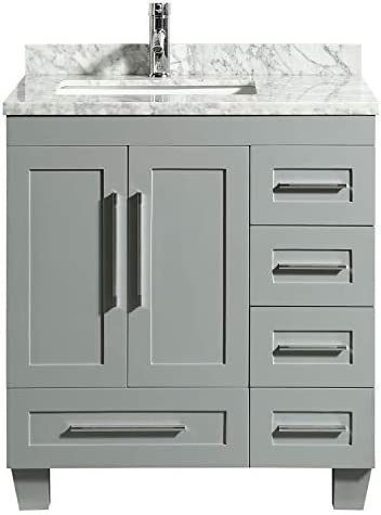 Eviva Loon 30″ Gray Transitional Bathroom Vanity w/White Carrara Top Long Handle