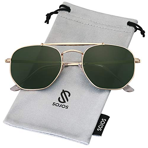SOJOS Classic Aviator Polarized Square Sunglasses for Men and Women Mirrored Lens COLONEL SJ1122 with Gold Frame/G15 Polarized Lens ()
