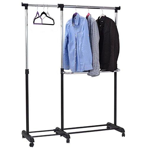 Perchero de ruedas ajustable Bar - Portátil ropa soporte ...