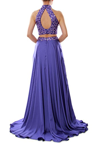 MACloth Women Two Piece Prom Dress High Neck Chiffon Long Formal Evening Gown Lavanda