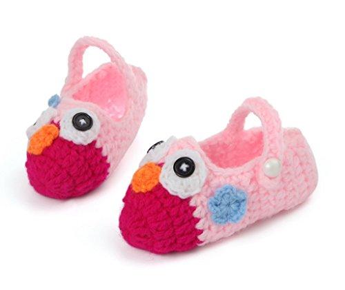 Smile YKK Strickschuh Strick Schuh Baby Unisex süße Muster One Size 11cm Vogel Rot B