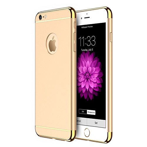 Xelcoy 3 in 1 (Top + Bottom + Back) Shockproof Dual Layer Electroplated Case Cover For iPhone 6PLUS 6sPLUS 5.5' - Gold Golden