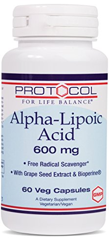 Protocol For Life Balance – Alpha-Lipoic Acid 600 mg – Free Radical Scavenger with Grape Seed Extract & Bioperine, Nervous System Support, Energy Boost, Reduces Oxidative Stress – 60 Veg Capsules For Sale