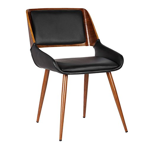 Armen Living LCPNSIWABL Panda Dining Chair in Black Faux Leather and Walnut Wood Finish by Armen Living