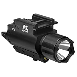 NcStar AQPFLS Tactical Red Laser Sight & 3w 120 Lumens Led Flashlight With Weaver Quick Release