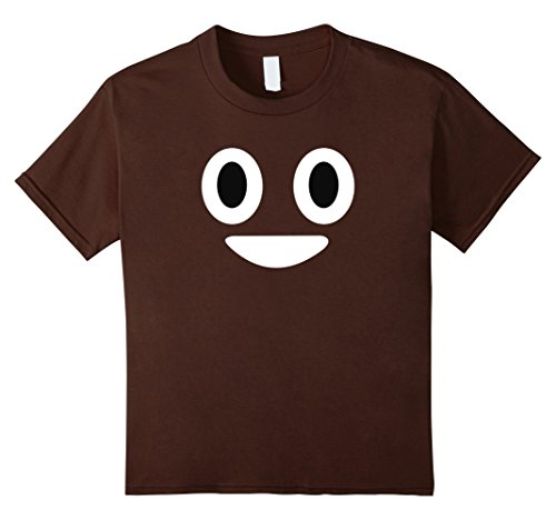 Poo Costumes (Kids Poop Emoji Face T-Shirt Funny Halloween Emoji Costume Shirt 10 Brown)