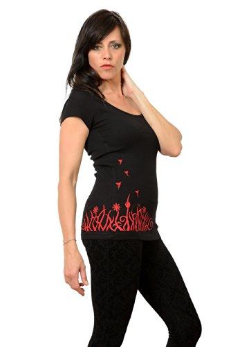 cuello de negro con Camiseta 3elfen moda corta Berl con de top de de redondo manga wxOvIqO