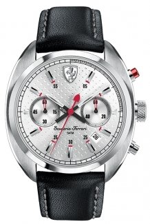 Ferrari-830241-Scuderia-Leather-Mens-Watch-Silver-Dial