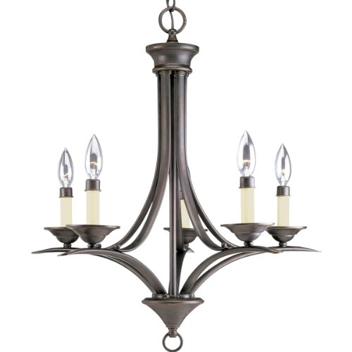 Progress Lighting P4327-20 5-Light Chandelier, Antique Bronze (20 Antique Bronze Cobblestone)