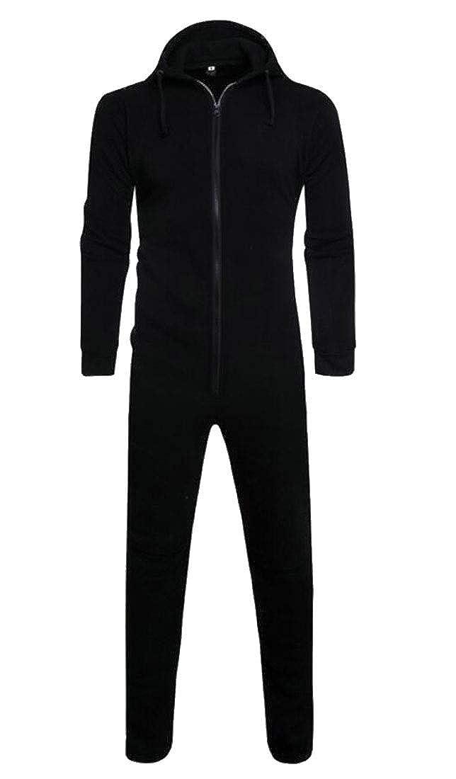 ouxiuli Men Hooded Jumpsuit Romper Overall Zip up Pajama Playsuit