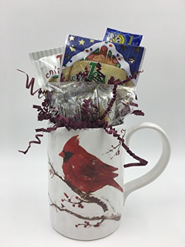 Tea Gift Set with Mug - Cardinal Winters Blessing Mug, 10 Holiday Tea Bags & 3 Mini Biscotti, Perfect Gift for Coworkers, Friends, Boss, Teachers and More