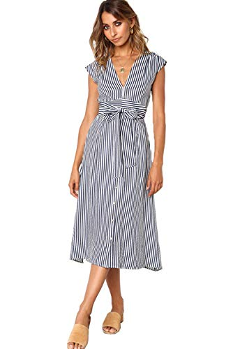 (ALAIX Women's Elegant Sleeveless V Neck Casual Button Down Swing Midi Dress with Belt Blue)