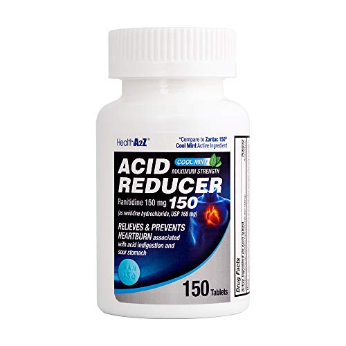 Health A2Z Acid Reducer-Cool Mint, Ranitidine 150mg,150 Count,Compare to Zantac Cool Mint,Maximum Strength Tablets