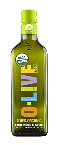 O-Live & Co. Premium 100% Organic Extra Virgin Olive Oil - Estate Grown & Bottled - Certified USDA - Kosher, 16.9 Fl Oz. Carbon Neutral Sustainable Process - Glass Bottle