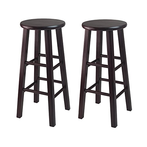 Winsome Bar Stool with Square Legs, 29-Inch, Espresso, Set of -