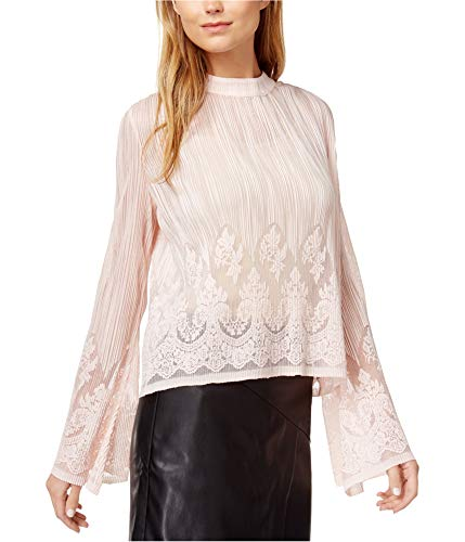 bar III Womens Pleated Knit Blouse, Pink, Large from Bar III