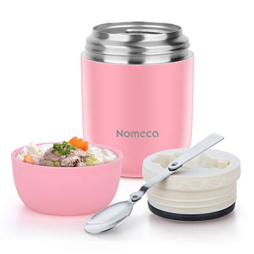 Food Jar Insulated Lunch Containers Nomeca 16 Oz Stainless Steel Thermoses Food Flask Lunch Vacuum Bottle with Folding Spoon (Pink) (Insulated Food Jar)