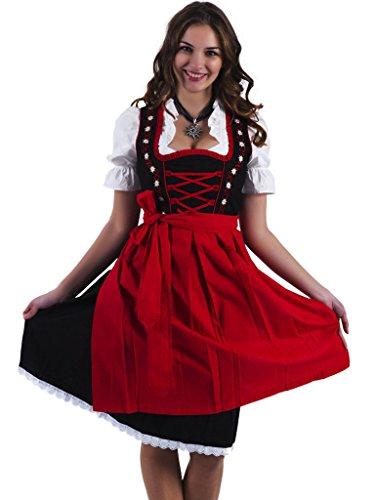 Alpenmärchen, 3tlg. Dirndl-Set - Trachtenkleid, Bluse, Schürze, Gr.52, schwarz-rot, ALM467