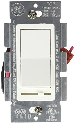GE 3-Way Dimmer with Slide for Incandescent, CFL and LED Dimmable Bulbs, Rocker On/Off, White, 18023 (Decora Slide Dimmer)