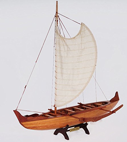 Hawaiian Outrigger Canoe Wooden Boat Model 25'' Traditional Sailing by Nautical Home Decoration