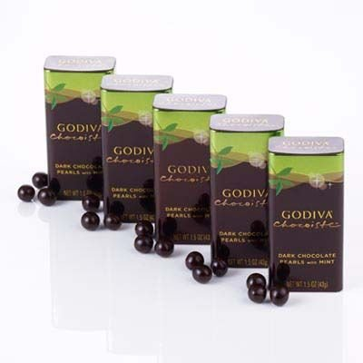 Godiva, Dark Chocolate Mint Pearls Tin, 18 - 1.5 Ounce Bars