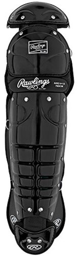 New Rawlings Catchers Shin Guards 76DCW Black Adult 9-12 14.5