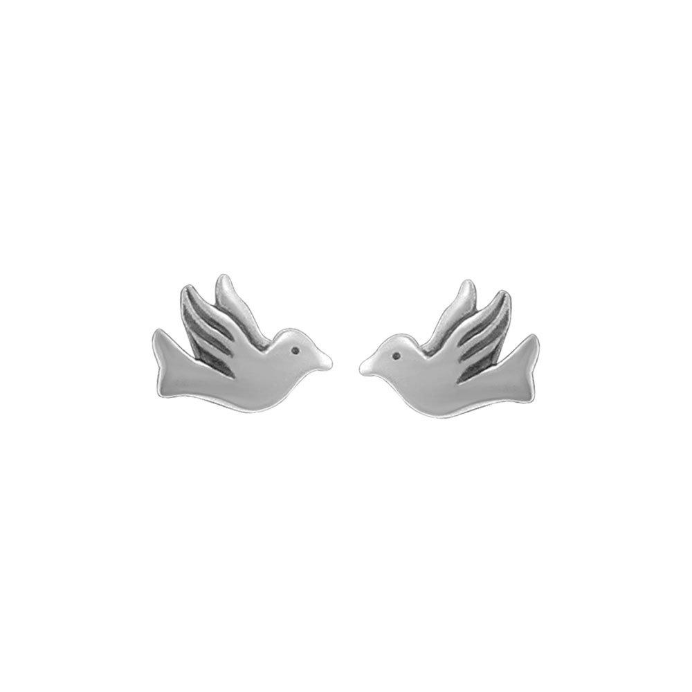 Boma Jewelry Sterling Silver Dove Bird Stud Earrings