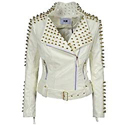 Faux Leather PU White Jacket With Studded Rivet