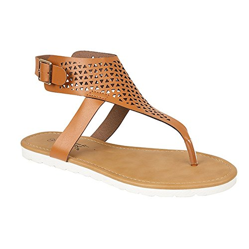 Ladies Emma Cut Out Detailed Toe Post Summer Sandals Casual Shoes Tribal Tan SXIHfQp