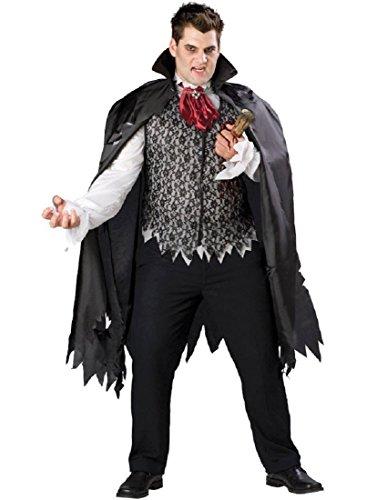 InCharacter Costumes Men's Plus  Size Vampire B Slayed Costume, Black/White/Burgundy, XXX-Large -
