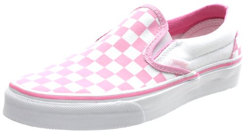 pink and black checkerboard vans