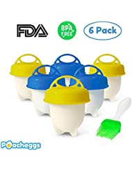 Silicone Egg Cooker Set by Poacheggs, Soft And Hard Boiled Eggs Without Shell, 6 pack Silicone Cups, Non Stick, FDA/BPA Free