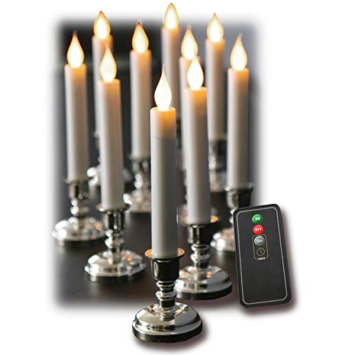 Set of 10 Flameless White Taper Window Candles with Removable Silver Candleholders with Timer and Remote, Batteries Included ()