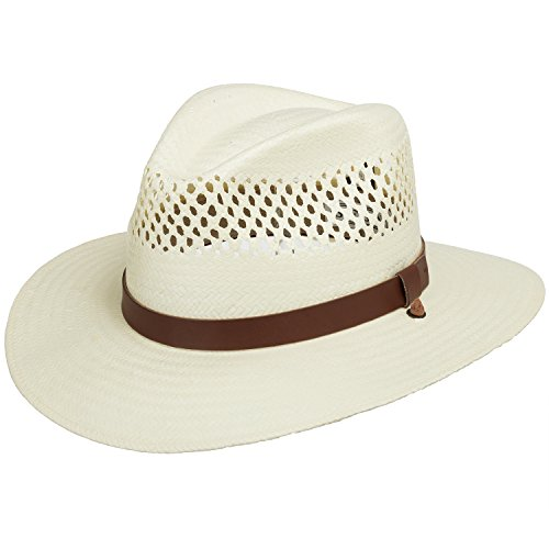 Fedora Cowboy Straw Hat (Stetson Digger Vented Straw Outback Hat 7)