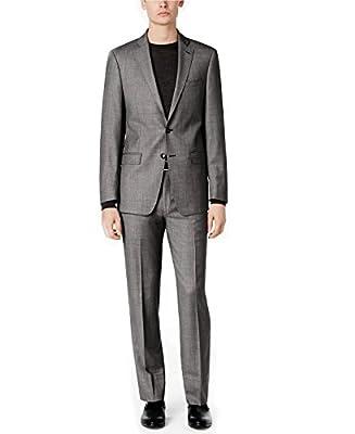 Calvin Klein Men's Stylish Slim Fit Black White Birdseye 100% Wool 2pcs Set Suit MBYR25FY0505