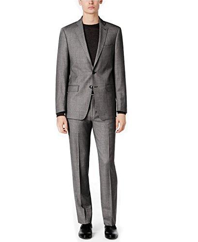 Calvin Klein 100% Wool Black White Birdseye 2 Piece Men's Dress Suit Slim Fit 5FFY0505 Grey (42 Short USA Jacket / 35 Waist Pants) ()