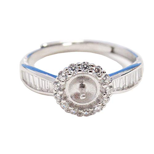 Adjustable S925 Sterling Silver Ring Setting for Half drilled Pearl or Bead, Ring mounting, Ring Blank, Jewelry DIY, Gift DIY