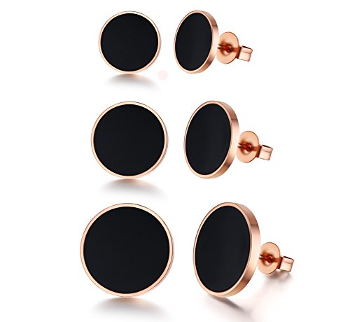 PJ Stainless Steel Two-tone Black Rose Gold Asymmetrical Circle Disc Stud Earrings for Women Girls (Earrings Gold And Black Studs)