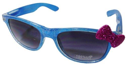 Sanrio Hello Kitty Shiny Glitter Style Designer Inspired Wayfarer Sunglasses - Blue Frame w/ Pink -