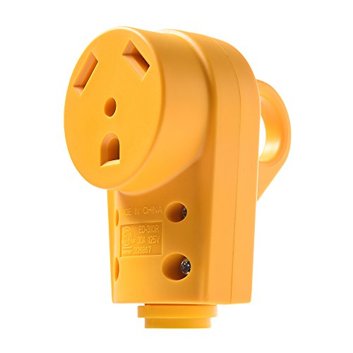Snowy Fox RV 30 Amp Female Replacement Plug - Heavy Duty 30 Amp RV Plug Receptacle with Ergonomic Grip Handle,Designed to Accommodate - Receptacle Female