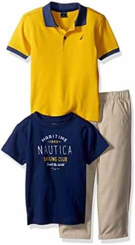 Nautica Boys' Short Sleeve Polo, Graphic Tee and Pant Set