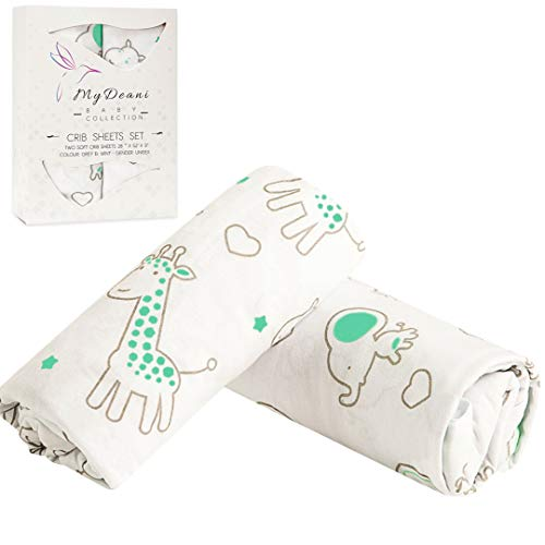 Price comparison product image Fitted Crib Sheet Set 2 Pack - 100% Jersey Knit Cotton With Lovely Animals Prints in White,  Gray and Mint,  Perfect Toddler Gift
