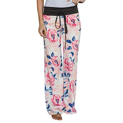 Todaies Womens Wide Leg Lounge Pants,Comfy Stretch Floral Print Drawstring Palazzo Pants (White 3, L)