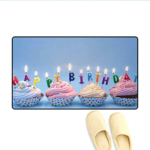 Bath Mat,Delicious Creamy Cupcakes with Letter Candles Sweet Celebration Theme Art Print,Door Mats Area Rug,Multicolor,Size:20