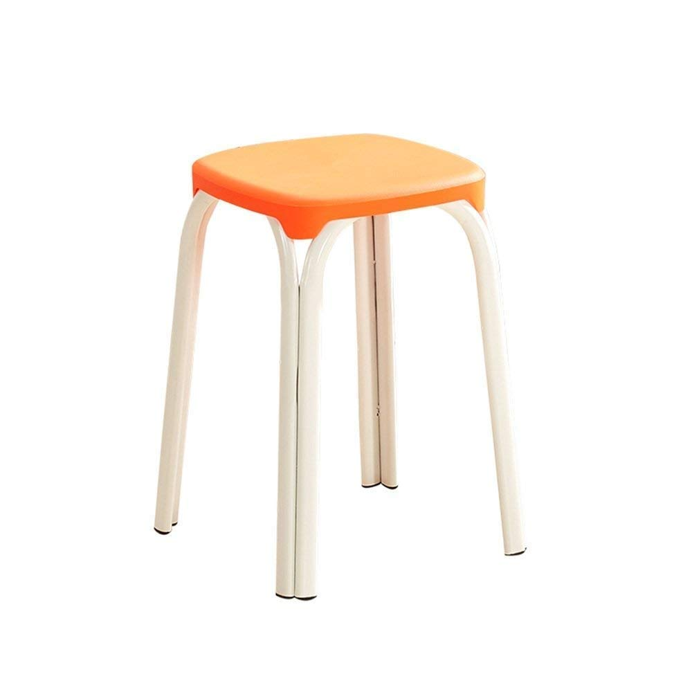 2 GJD Chair-Plastic Stool Padded Adult Household Dining Table Bar Stool Fashion Chair Modern Simple Living Room High Stool Home Convenient (color   8)