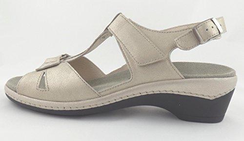 low priced f6902 49be8 Semler Damen Sandale Heidi Komfort-Sandale Platin Leder Weite H ...