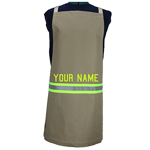 Personalized Firefighter Cooking Apron, Tan with Yellow (Firefighter Apron)