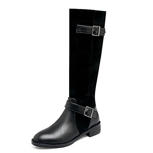 Seven High Boots Black Block Women's Round Leather Nine Low Genuine Designed Fashion Knee Heel Buckle Handmade Riding Toe Bqx4Rdwg