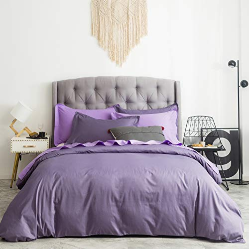 SUSYBAO 3 Pieces Duvet Cover Set 100% Natural Cotton Queen Size Solid Lilac Purple Bedding Set with Zipper Ties 1 Duvet Cover 2 Pillow Shams Luxury Quality Ultra Soft Breathable Lightweight Easy Care (Paris Duvet Covers)